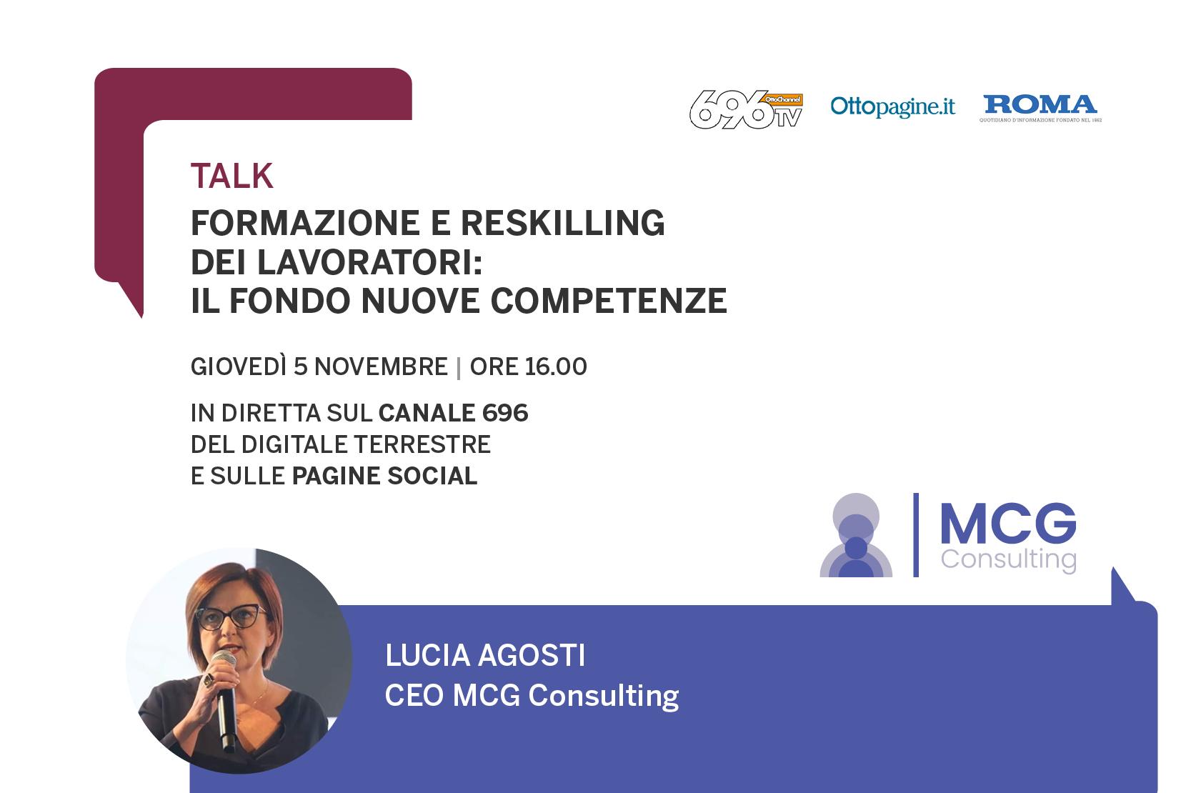 """Lucia Agosti opsite del Talk """"Formazione e reskilling dei lavoratori: il Fondo Nuove Competenze"""""""